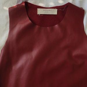 Zara Tops - Zara Faux Leather/Knit Top